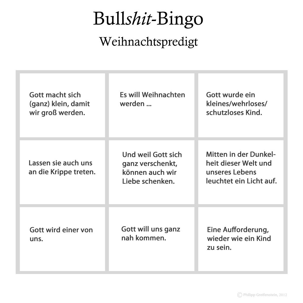Bullshit-Bingo für die Weihnachtspredigt