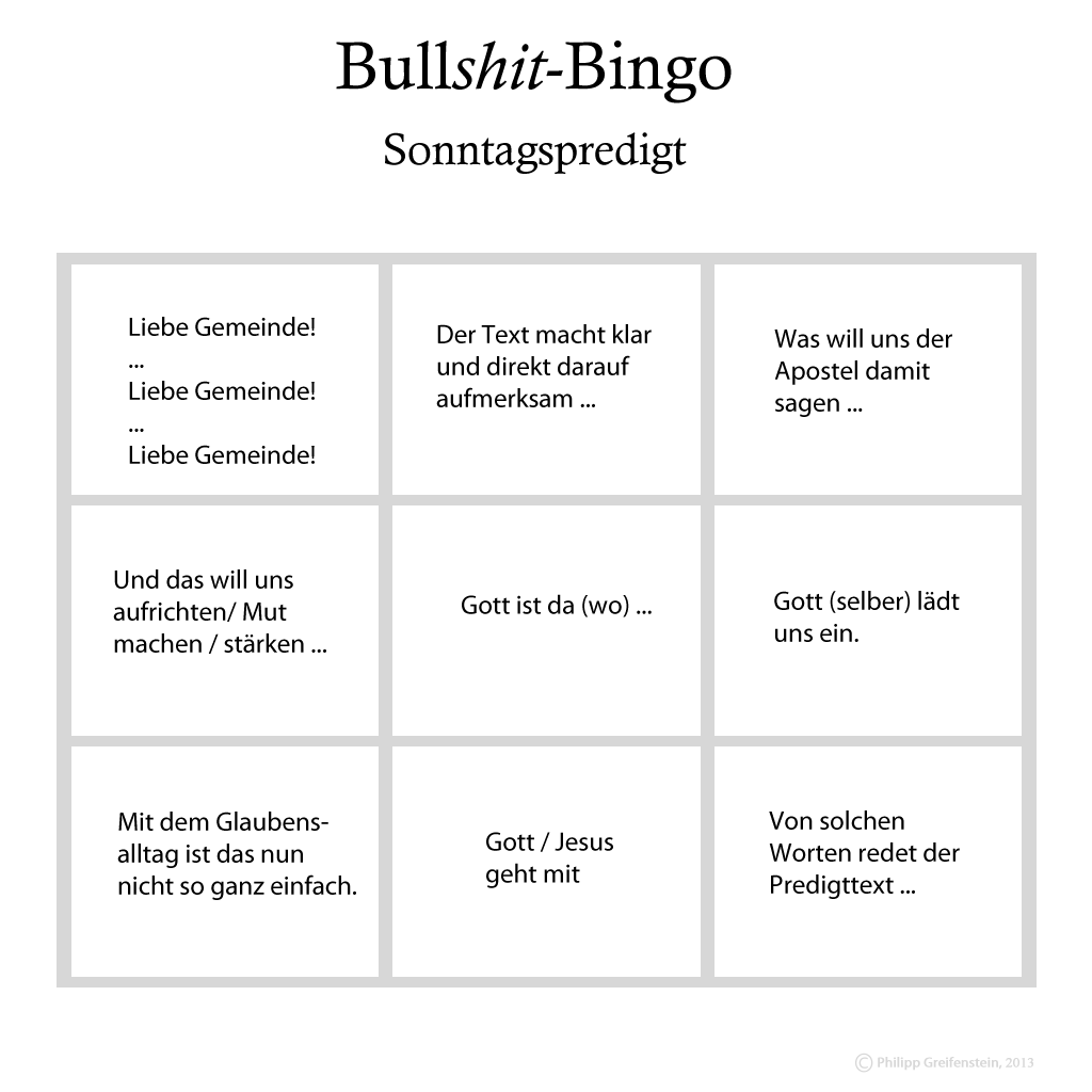 Bullshit-Bingo-Sonntagspredigt